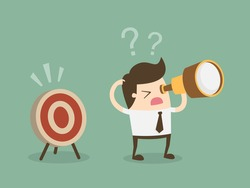 Confused businessman look for target in wrong direction.Flat design business concept cartoon illustration.