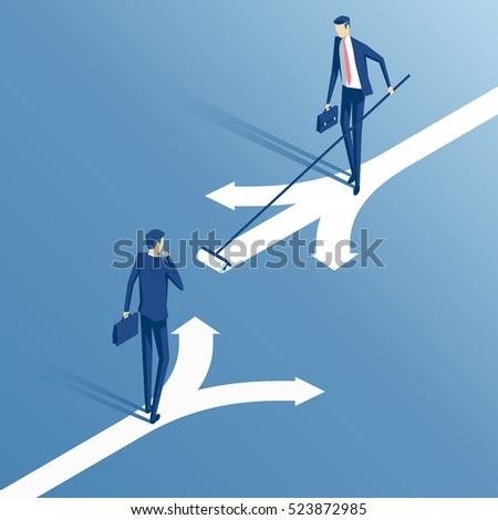 confused businessman standing at a crossroads and chooses the direction and savvy businessman who painted his own way, an employee with a roller draws its own direction, business concept
