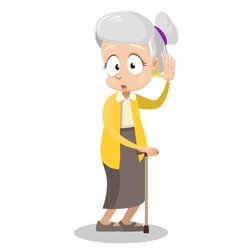 Confused elderly lady holding walking cane. Granny with rheumatism cartoon animated personage. Female patient rehabilitation after illness. Old age infirmity and disability vector illustration.