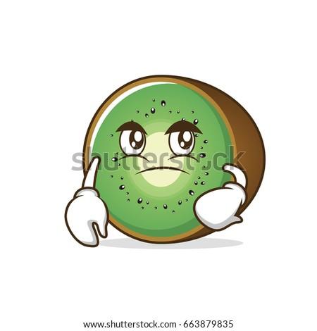 confused kiwi fruit cartoon