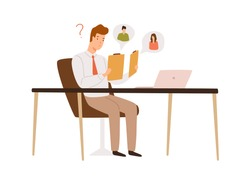 Confused male recruit choosing between two resume applicant vector flat illustration. HR manager sit at desk doubt to hire hold cv isolated on white. Head hunting, recruitment and candidate choice