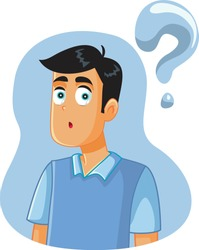 Confused Man Having Many Questions Vector Cartoon. Young adult looking for the answer to a burning question
