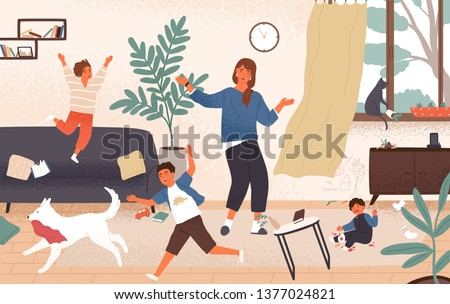 Confused mom and adorable naughty mischievous children jumping around her. Distressed and unhappy mother surrounded by playing kids. Modern parenting. Flat cartoon colorful vector illustration.