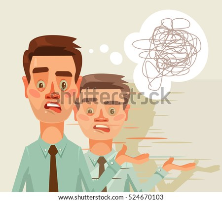 Confused puzzled thinking office worker man character. Split personality. Vector flat cartoon illustration