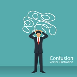 Confused thoughts. Confusion concept. Businessman is holding hands on head. Vector illustration flat design. Isolated on white background.
