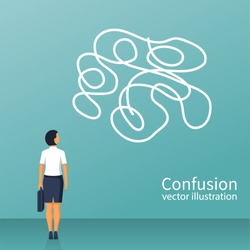 Confused thoughts. Confusion concept. Businesswoman is holding hands on head. Vector illustration flat design. Isolated on white background.