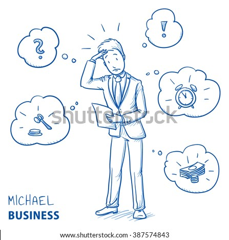 confused young man in business