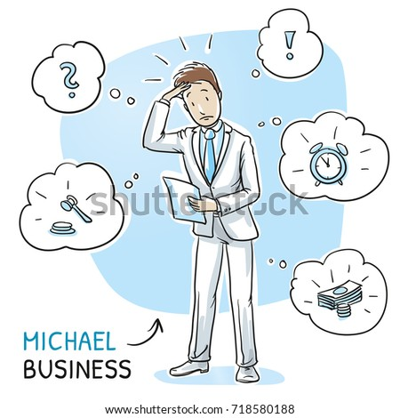 Confused young man in business suit holding a letter or document, looking concerned. Hand drawn cartoon sketch vector illustration, whiteboard marker style coloring.