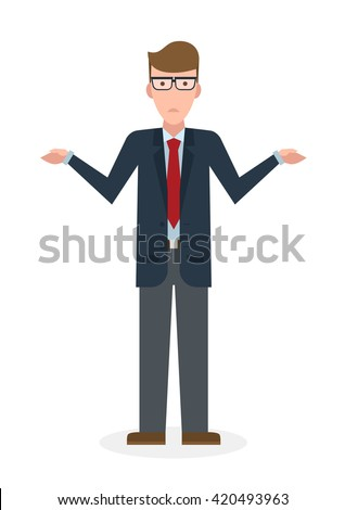 confusing businessman on white