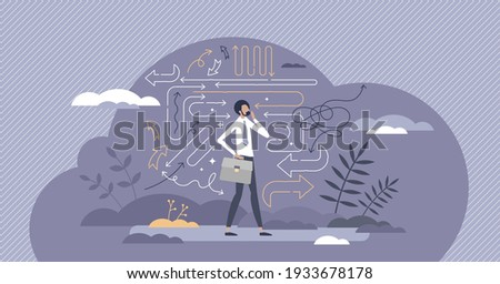 Confusion about future business strategy and direction tiny person concept. Worried businessman thinking about right opportunity path vector illustration. Doubt, dilemma and uncertainty about choices.