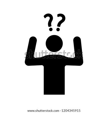 Confusion glyph icon. Making decisions. Indecision. A lot of questions. Indecisive person. Perplexity. Emotional stress symptom. Silhouette symbol. Negative space. Vector isolated illustration