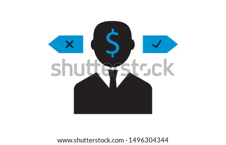 Confusion in decision making vector icon.