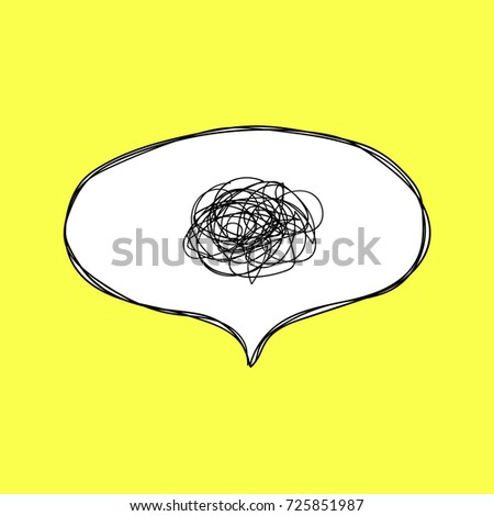 Confusion. Speech bubble with tangled thoughts. Hand drawn speech bubble in comic style on yellow background.