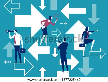Confusion, uncertainty. A businessman searching for direction standing at arrows pointing to many directions. Business vector illustration