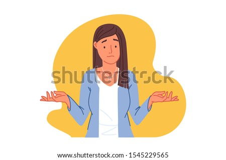 Confusion, uncertainty, doubt concept. Puzzled young woman shrugging shoulders, perplexed girl showing doubt gesture with embarrassed face, lady wondering question answer. Simple flat vector
