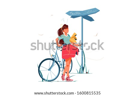 Confusion woman lost with bicycle vector illustration. Upset girl cant remember way home and choose right direction cartoon design. Uncertainty and doubt concept