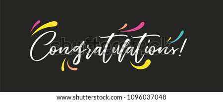 Congrats, Congratulations banner. Handwritten modern brush lettering dark background isolated vector illustration