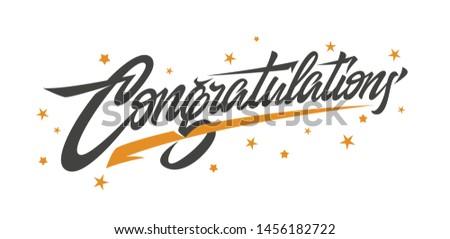 Congrats, Congratulations banner. Handwritten modern brush lettering dark background. Vector Illustration for greeting - Vector
