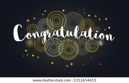 Congrats, Congratulations banner with glitter decoration. Handwritten modern brush lettering dark background. Vector Illustration for greeting card