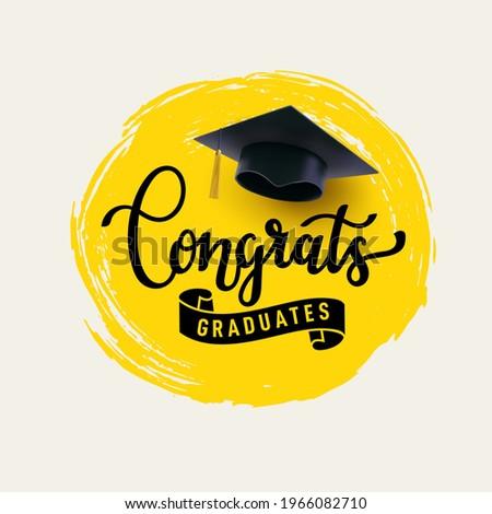 Congrats Graduates, class of 2021. Cap icon and lettering for graduation party. Design logo for congratulation ceremony, invitation card. University, school, academy grads symbol. Vector illustration.