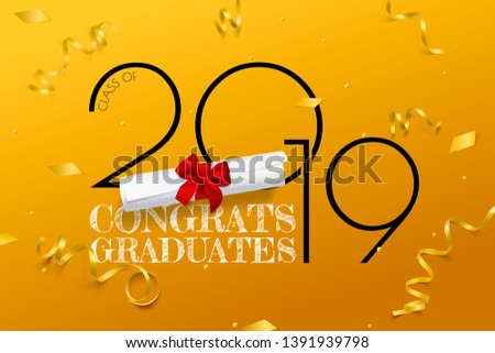 Congrats graduates. Lettering for graduation class of 2019. Vector text for graduation design, congratulation event, party, greeting, invitation card, high school or college graduate.