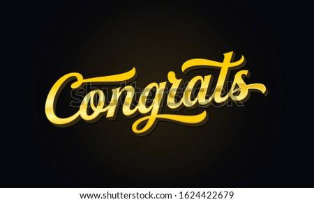 Congratulation banner. Gold handwritten modern brush lettering dark background. Typography vector illustration for greeting.