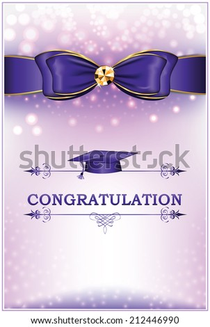 Congratulation - Graduation greeting card. Printable graduation card with blue ribbon (bow), - stock-vector-congratulation-graduation-greeting-card-printable-graduation-card-with-blue-ribbon-bow-text-212446990