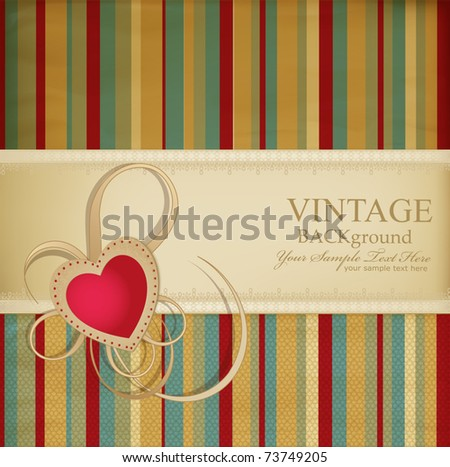 congratulation vector retro background with ribbon, heart on a striped background