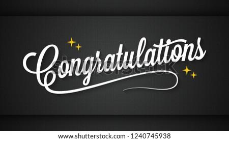 Congratulation vintage sign on black background