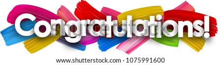 Congratulations banner with colorful watercolor brush strokes. Vector paper illustration.