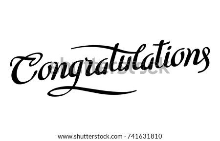 Congratulations. Calligraphy lettering. Handwritten phrase with black text on white background. Vector illustration