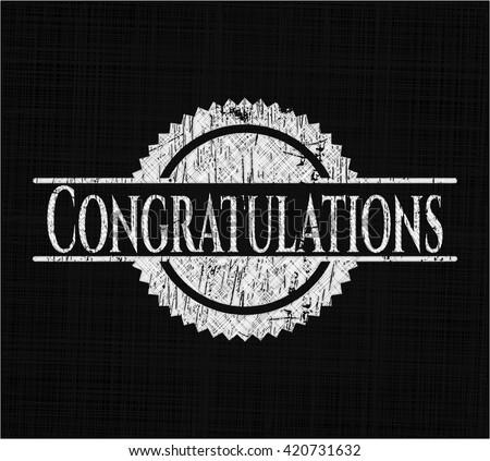 Congratulations chalkboard emblem written on a blackboard
