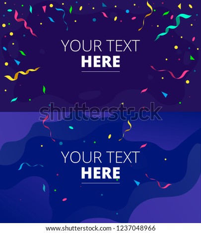 Congratulations design template set with confetti for games, greeting cards, mobile applications etc