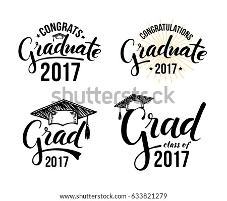 Congratulations graduate 2017. Set of graduation labels. Vector isolated elements for graduation design, congratulation event, party, high school or college graduate.