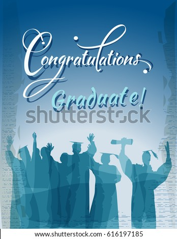 Congratulations graduate text with silhouettes in water colors