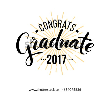 Congratulations graduate 2017. Vector isolated elements for graduation design, congratulation event, party, high school or college graduate