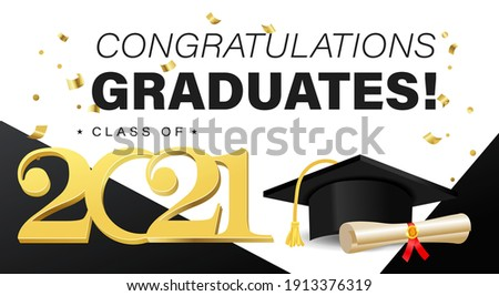 Congratulations graduates background template with academic cap with black and gold elements. Class of 2021 greeting banner concept for invitation, yearbook, card, blog or website. Vector illustration