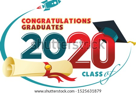 Congratulations graduates card. Vector text for graduation design, congratulation event, party, high school or college graduate. Lettering Class of 2020 for greeting, invitation card - Illustration