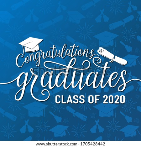 Congratulations graduates 2020 class of vector illustration on seamless grad background, white sign for the graduation party. Typography greeting, invitation card with diplomas, hat, lettering.