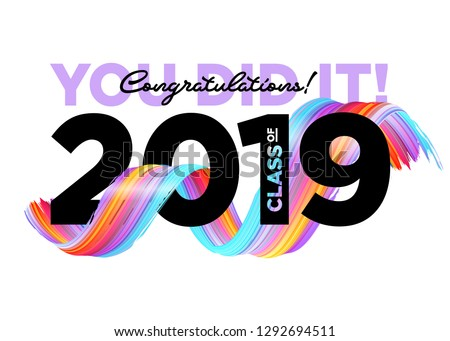 Congratulations Graduates Class of 2019 Vector Logo. Graduation Background Template. Greeting Banner for College Graduation Ceremony.