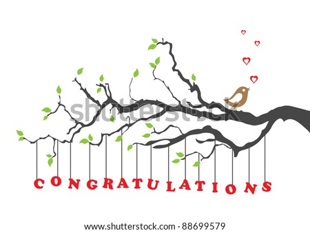 Congratulations greeting card with bird