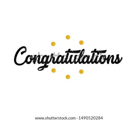 Congratulations!. Greeting for congratulations. Initial Letter Congratulations Illustration for greeting.
