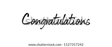 Congratulations handwritten text, vector congrats typographic sign.