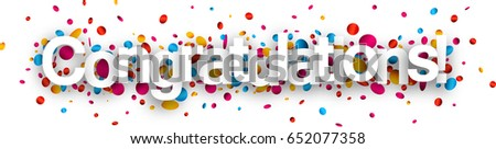 Congratulations paper banner with glossy colorful confetti. Vector illustration.