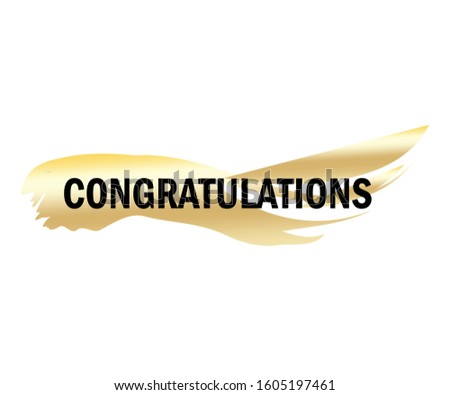 Congratulations shiny banner with golden brush stroke design. Vector background.
