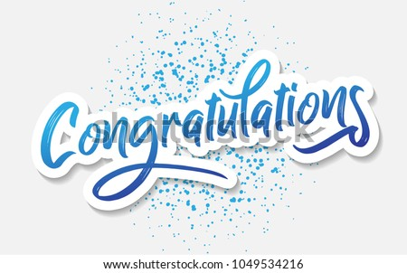 Congratulations - Typography, Lettering, Handwritten, vector for greeting