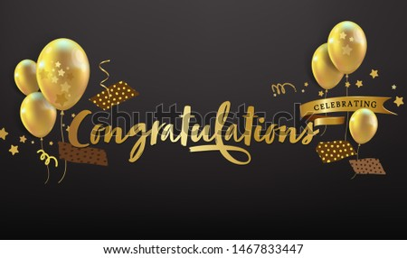 Congratulations - Typography, Lettering, Handwritten with balloon, confetti, and festive elements, vector for greeting - banner template