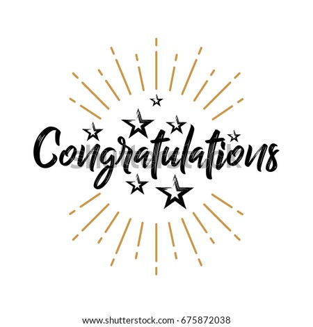 Congratulations - Vintage - Lettering, Handwritten, Vector Illustration for greeting