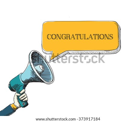 CONGRATULATIONS   word in speech bubble with sketch drawing style
