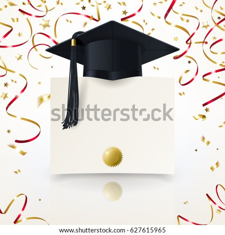 congratulatory background on graduation with a graduate cap  and diploma